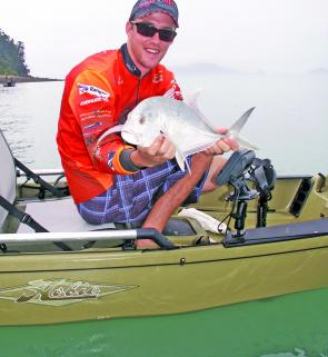 This little trevally was caught out of a Hobie Pro Angler kayak on a small Rapala Skitter Pop.