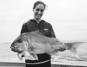 Nicole Crews of Engadine caught this 6kg snapper on 15kg braid fishing with her husband, Jason, near Kangaroo Island in South Australia on a charter.