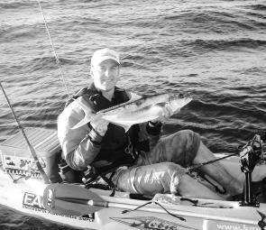 Carl Dubois caught this 69cm kingfish from his kayak at the hot water outlet in Botany Bay. Carl learnt how to catch kingfish with Scotty Lyons from Southern Sydney Fishing Tours.
