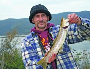 Dave Smith with a cracking brown trout taken on the troll.