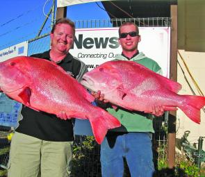 Kevin Charteris (13.04kg) and Luke Cooper (12.575kg) with their sensational red emperor.