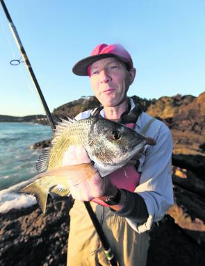 Michael Smith with an average Seal Rocks bream from the stones. They are a welcome by-catch while fishing for pigs on prawns.