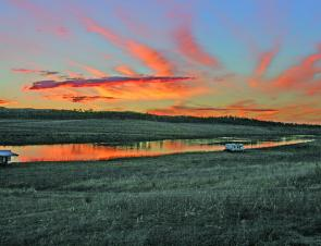 It may be cold fishing the freshwater but sunrise and sunset can be magnificent over the winter months.