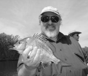 Peter with his first soft plastic-caught bream from the Tuross River. It won't be his last.