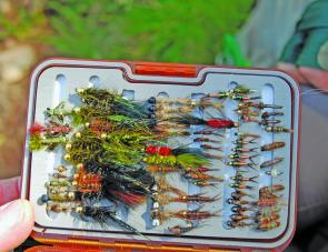 A selection of wet flies and nymphs. Note the bead heads on many of the flies, the beads tending to sink the flies quickly as well as attracting fish.