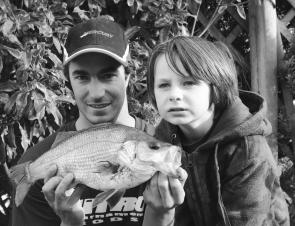 Though most bream and estuary perch will be heading upstream at this time of year, Stein Vale and his father, Dion, pulled this 45cm perch from the bridge pylons in Nelson.