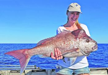 Jade Cochrane won the $50.00 Davo's Fish of the Week prize with this thumper 6.4kg, 82cm knobby snapper from Sunshine Reef.