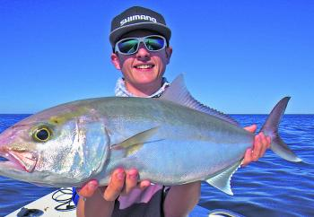 Mitchell Fredericks from Davo's Tackle World tempted this amberjack with a deep jigged soft plastic at The Barwon Banks.