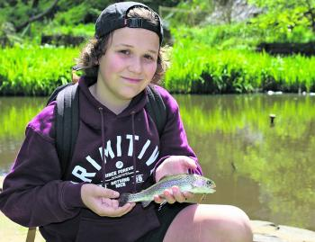 Gus Sirianni pounced on the opportunity to go fishing in Merriwa Park recently, and landed quite a few of these yearling rainbow trout.