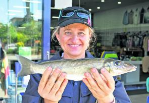 Local angler Kellie Blain tempted her 36cm elbow-slapper whiting with a live worm bait.