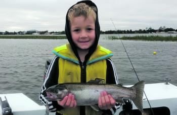Max Stevens Landed this lovely Wendouree rainbow trout on the troll. The silver Bullet Lure brought this one undone.