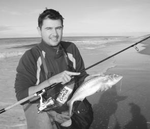 Will Thompson from Allways Angling with a nice salmon taken from Golden Beach on a Lazer lure.