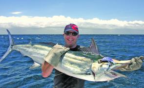 James Harmon with a decent black marlin caught on a Polu Kai lure.