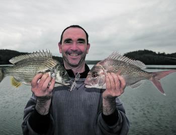 A great estuary double header of bream and snapper on plastics.