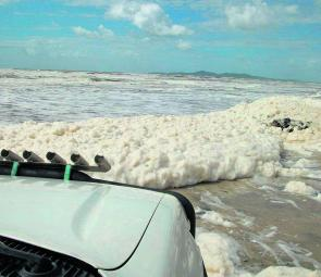 The author nearly became a casualty when beach foam completely covered the rocks making it impossible to distinguish an appropriate path over them. He made it through, but inexperienced drivers are advised to take particular care as things can turn nasty