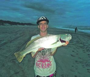 Local gun Tom Kelly with a Crowdy Beach mulloway taken on worms.