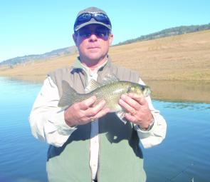 Newcastle rod builder Derek Crosdale caught this St Clair bass on a Big river Shake 'N Bake.