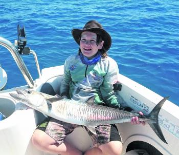 Spanish mackerel, like this beauty caught by Dakota Creed, will be the main prize this month.