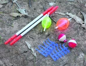 A selection of bubble floats, quill floats and float stoppers. The red and white floats are the most basic, cheapest and easiest to use, but probably the most ineffective.