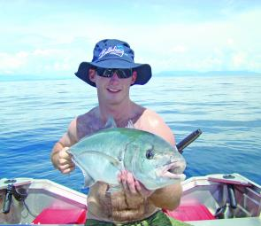 Stuey Sowden nailed this bludger trevally whil casting metal slices at bluefin tuna schools.