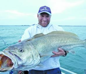 Gawaine Blake displays an impressive mulloway taken from the Corinella region.