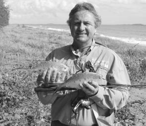 Al and some of the swallowtail dart caught from the surf gutters on the ocean side of Wild Cattle Island.
