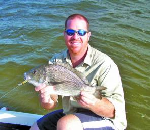 Dale Patterson with terrific black bream taken on an Ecogear SX40.