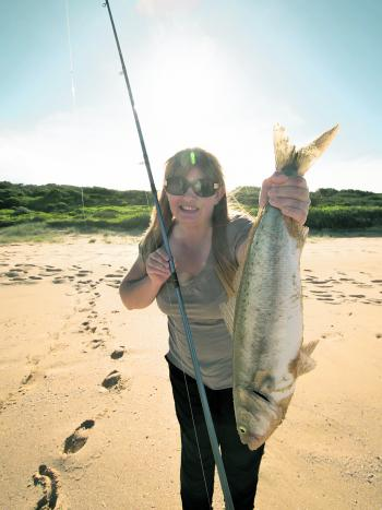 Leslee Nolan with her first Australian salmon caught on a recent beach fishing trip.