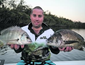 Tim with a brace of bream from Broughton Creek.
