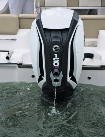 Quiet at idle and not smoky at all. Characteristics of a 4-stroke demonstrated in a 2-stroke outboard.