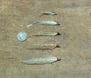 A selection of the author's rough and ready mac tuna flies – they work!