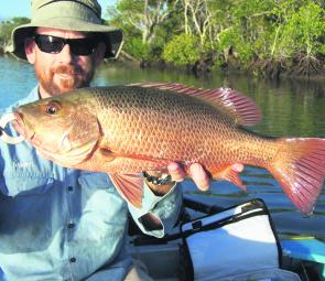 Darryl Brookman landed this quality jack from the oyster leases near Elimbah Creek.