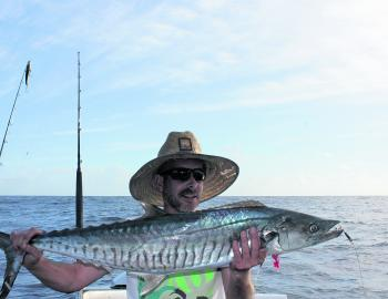 Phil with a Spanish mackerel caught at the Outer Gneerings.