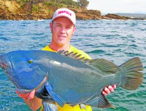 The author had barely enough energy to smile after tangling with this 10.4kg bluey, which was promptly released.