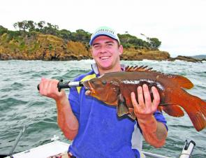 Kyle Burnell found this average brown (female) groper a real handful. Even 'small' groper pull exceptionally hard.