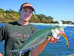 It pays to have a soft plastic rigged and ready. Tom Hilyear seized the opportunity to cast at a school of salmon.