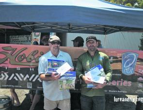 Chris Burbidge (1st) and Richard Somerton (2nd) claimed the top honours and secured themselves a berth in the 2012 Daiwa-Hobie BREAM Kayak Grand Final in November.