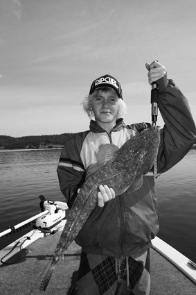 Tristan, 14, of Tathra with a personal best flattie of 75cm from Wagonga Inlet.