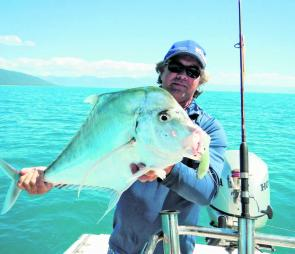 Some big diamond trevally have been fun while chasing golden trevally on plastics.