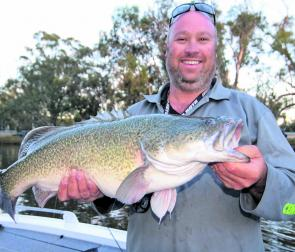 Moulamein's local tackle proprietor Jamie Stewart caught this Murray cod in the Edward River.