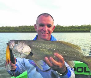 Mark Ward recently moved to Bundaberg and found time to snare this little mulloway on a lure in between some epic water flows.