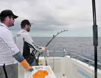 Justin Williams hooked up to a decent lure eating mako on 37.
