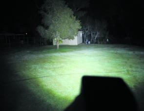 The Korr LED flood light in action; that shed is 40 metres from the LED light!