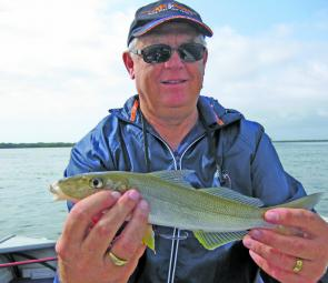 A good summer whiting caught by Ken Muckert at Bribie's Red Beach.