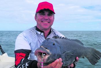 Scott Fleming got a beautiful blue groper while micro-jigging in 20m of water off the lighthouse.