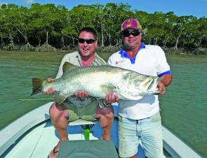 Michael Coverlid from Townsville and his biggest barra at 108cm.