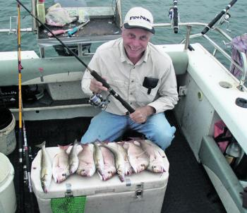 David Little with an early morning's catch on Western Port Bay.