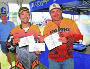 Adrian Neoh and Wayne Reed from Team Damiki/Duffrods/Hypermarine picked up $3900 for their two consistent tournament days on Wallis Lake.