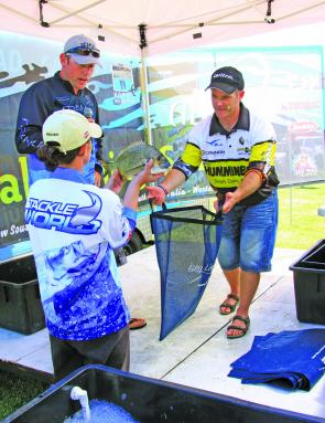 The last team to weigh-in on day one Team Forster Beach Caravan Park had the fish needed to claim their bigger cheque to date in a MegaBREAM event.