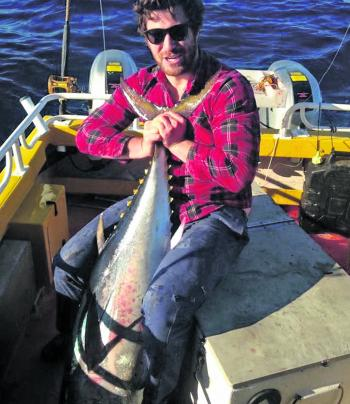 Big or small, it doesn't matter when you find bluefin, Thomas is usually happy to catch anything.